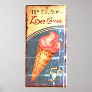 Eiscreme-Zeichen-Antiken-Replik Poster