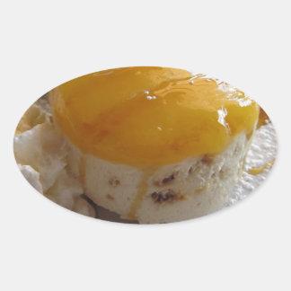 Eiscremekuchen der Aprikose Stau bedeckter Ovaler Aufkleber