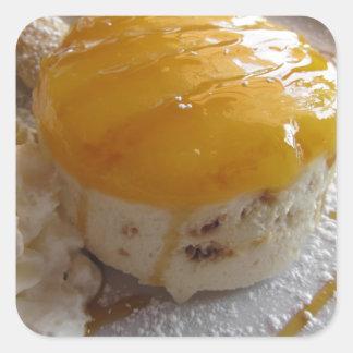 Eiscremekuchen der Aprikose Stau bedeckter Quadratischer Aufkleber
