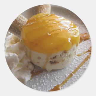 Eiscremekuchen der Aprikose Stau bedeckter Runder Aufkleber