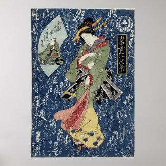 Eisen Geisha im grünen Kimono Poster