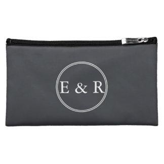 Eisen-Grill-Grau mit weißen Grenzen und Text Cosmetic Bag