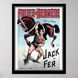 Eisen-Jack-starker Mann-Vintages Zirkus-Plakat