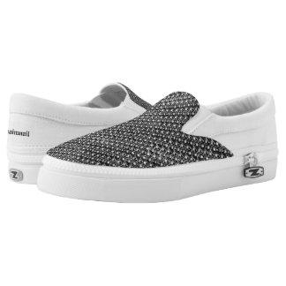 Eisen-Postgunmetal-Schwarz-Metallkettenrüstung Slip-On Sneaker