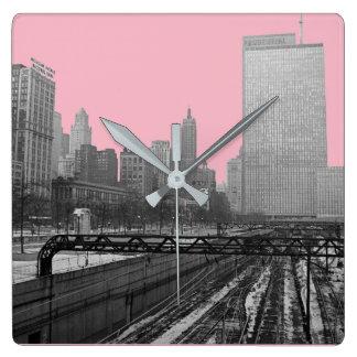 Eisenbahn-Foto Sechzigerjahre der Quadratische Wanduhr