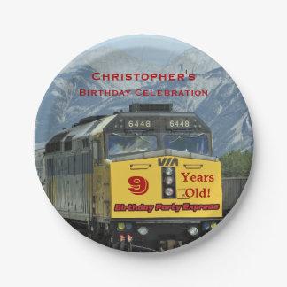 Eisenbahn-Zug-Papier-Teller, 9. Geburtstag, Pappteller