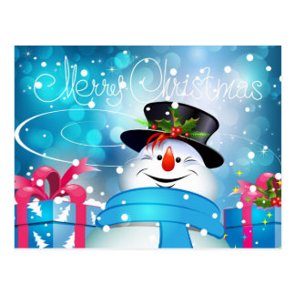 Eisig der Schneemann - frohe Weihnachten Postkarten