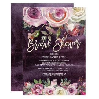 Eisige Rosen-lila BlumenBrautparty-Einladung Karte