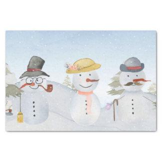 Eisige Schneemann-u. Freund-Winter-Schnee-Szene Seidenpapier