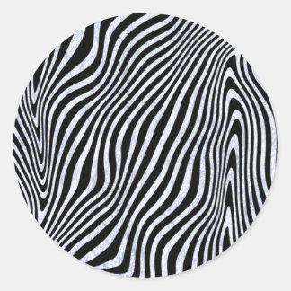 Eisige Zebra-Streifen Runder Aufkleber