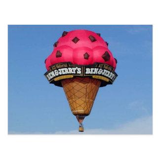 Eistüte-Heißluft-Ballon Postkarte