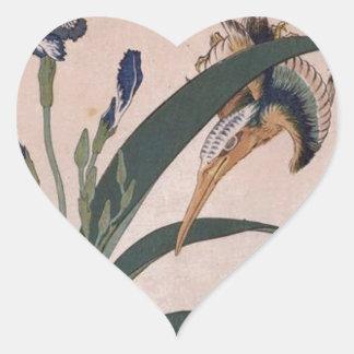 Eisvogel, Gartennelke, Iris durch Katsushika Herz-Aufkleber