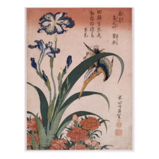 Eisvogel, Gartennelke, Iris durch Katsushika Postkarte