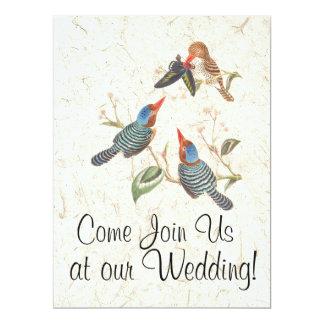 Eisvogel-Vogel-Blumen-Blumenhochzeits-Einladungen 16,5 X 22,2 Cm Einladungskarte