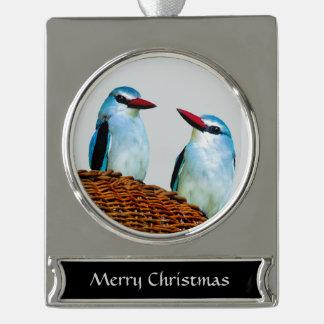Eisvogel-Vögel Südafrika Banner-Ornament Silber