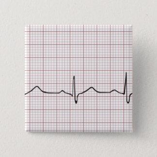 EKG Herzschlag auf Zeichenpapier mit Quadratischer Button 5,1 Cm