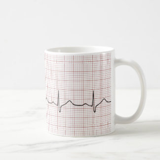 EKG Herzschlag auf Zeichenpapier mit Tasse