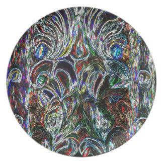 Eklektisches Vintages beflecktes Glas Melaminteller