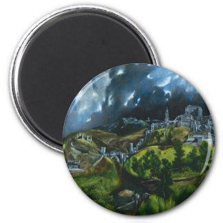El Greco-Ansicht von Toledo-Magneten Runder Magnet 5,7 Cm