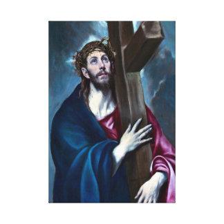El Greco Christus, der das Kreuz trägt Leinwanddruck