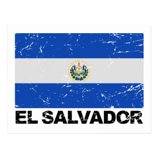 El Salvador Vintage Flagge Postkarte