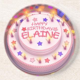 Elaine Geburtstags-Kuchen Getränkeuntersetzer