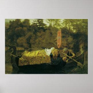 Elaine oder das Lilien-Mädchen von Astolat, 1870 Poster