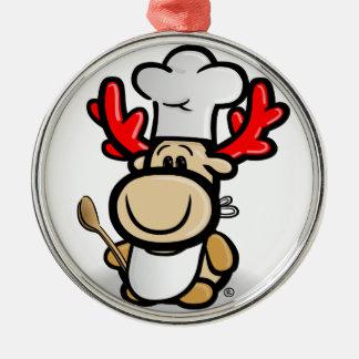 Elch Elmondo als Koch Silbernes Ornament