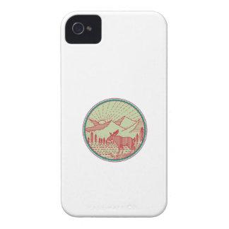 Elch-Fluss-Gebirgssun-Kreis Retro Case-Mate iPhone 4 Hüllen