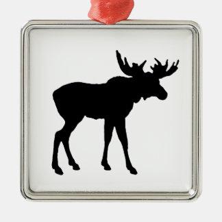 Elch-Ikone Quadratisches Silberfarbenes Ornament