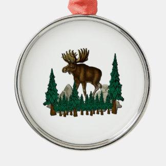 Elch-Land Silbernes Ornament