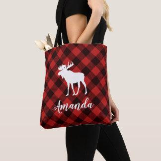 Elch-und Büffel-rotes kariertes Muster-Weihnachten Tasche