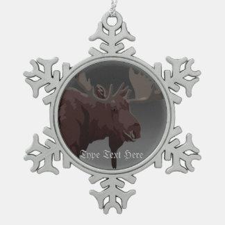 Elch verziert Elch-Kunst-Weihnachtsdekorationen Schneeflocken Zinn-Ornament