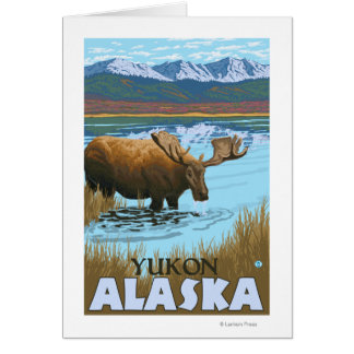 Elche, die in See - Yukon, Alaska trinken Karte