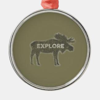 Elche erforschen Vintages (v1) Silbernes Ornament