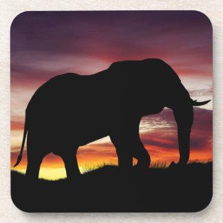Elefant-Afrika-Safari-Sonnenuntergang-Landschaft Getränkeuntersetzer