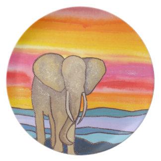 Elefant am Sonnenuntergang in Afrika (K. Turnbull Melaminteller