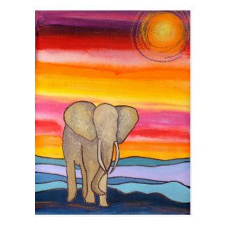 Elefant am Sonnenuntergang in Afrika (K. Turnbull Postkarte