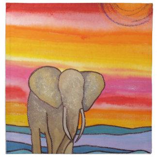 Elefant am Sonnenuntergang in Afrika (K. Turnbull Stoffserviette