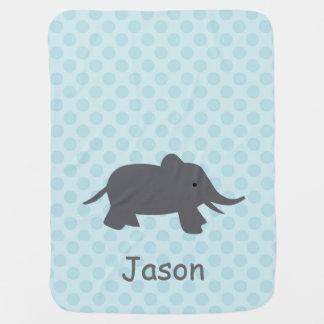 Elefant auf Baby-blauer Decke