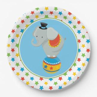 Elefant auf dem Zirkus des Ball-  themenorientiert Pappteller