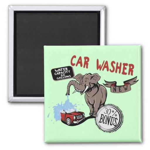 Elefant-Auto-Waschmaschine - lustige neue Erfindun Kühlschrankmagnete