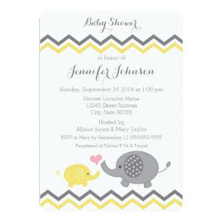 Elefant-Baby-Dusche laden   gelbes graues Zickzack 12,7 X 17,8 Cm Einladungskarte
