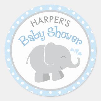 Elefant-Babyparty-Aufkleber | blau und grau Runder Aufkleber