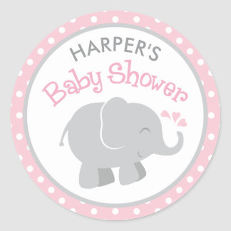 Elefant-Babyparty-Aufkleber | rosa und Grau Runder Aufkleber