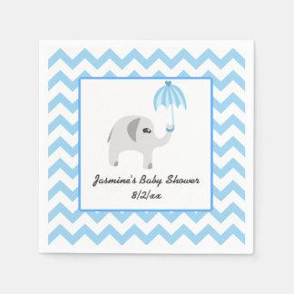 Elefant-Babyparty-Blau-Regenschirm Papierserviette