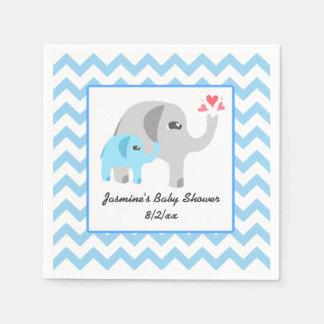 Elefant-Babyparty-Blau und Weiß Servietten