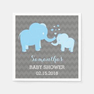 Elefant-Babyparty-blaue und graue Papierservietten