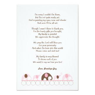 Elefant-Babyparty danken Ihnen 12,7 X 17,8 Cm Einladungskarte