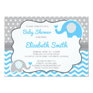 Elefant Babyparty Einladung, Editable Farbe Karte